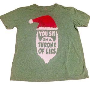 3/$20 You Sit on a Throne of Lies Santa shirt Elf